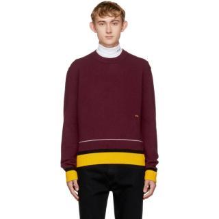 Calvin Klein 205W39NYC by Raf Simons Burgundy Wool Knit Sweater