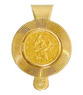 Tiffany & Co Vintage 14kt Gold Coronet Coin Money Clip