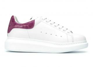 Alexander McQueen Oversized Croc Embossed White/Purple Sneakers