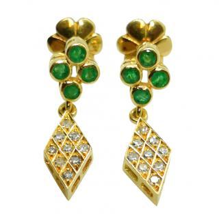 Bespoke Emerald & Diamond Yellow Gold Drop Earrings