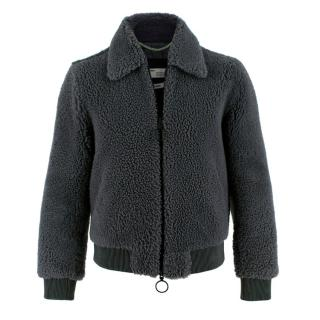 Off-White Men's Grey Shearling Bomber Jacket
