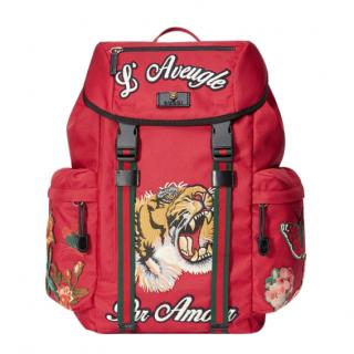 Gucci  L'Aveugle Par Amour Embroidered Red Backpack