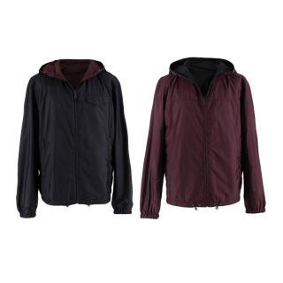 Prada Black & Burgundy Reversible Hooded Nylon Jacket