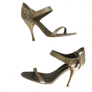 Manolo Blahnik Metallic Satin Sandals