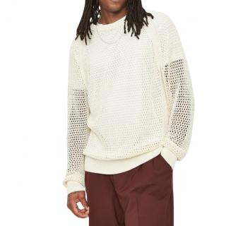CMMN SWDN Ivory Cotton Open Knit Sweater