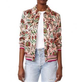 Maison Scotch Floral Silk Bomber Jacket