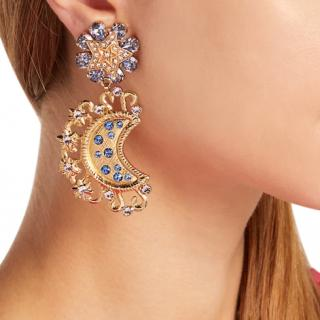 Dolce & Gabbana Crystal-embellished star and moon clip-on earrings