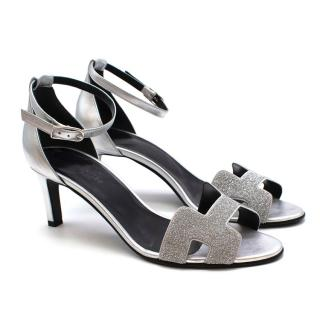 Hermes Silver Leather Premiere 70 Glitter Sandals
