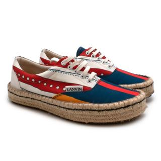 Lanvin Red & Blue Striped Cotton Espadrille Trainers