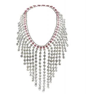Gucci Pink & White Crystal Fringe Necklace