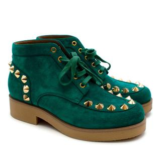 Christian Louboutin Aquamarine Suede Studded Lace Up Boots