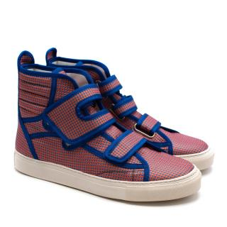Raf Simons Orange & Blue Dotted High Top Trainers