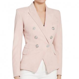 Balmain Blush Suede Tailored Jacket