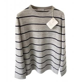 Brunello Cucinelli Kid's 8Y Virgin Wool & Cashmere Striped Jumper