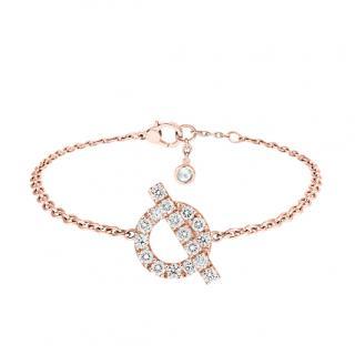 Hermes rose gold and diamond Finesse bracelet