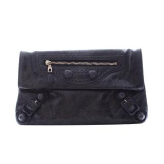 Balenciaga navy lambskin leather foldover clutch