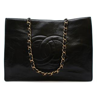 Chanel Black Patent Leather CC XL Shopping Tote