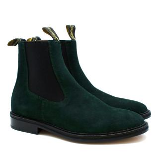 Lanvin Green Suede Leather Chelsea Boots