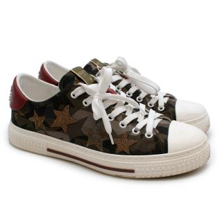 Valentino Garavani Military Green Denim Star Sneakers