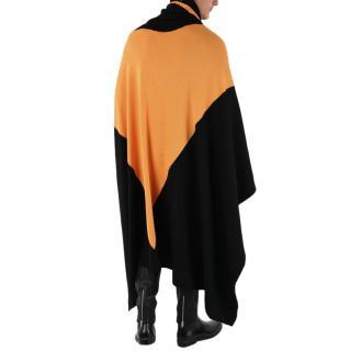 Maison Margiela Black & Orange Wool Blanket Scarf/Poncho 185 x 200cm