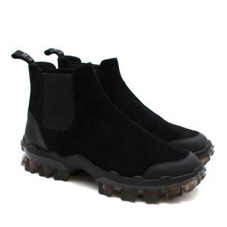 Moncler Black Suede Clear Sole Chelsea Boots