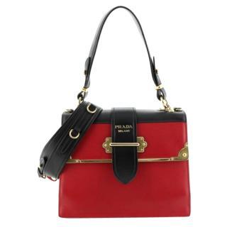 Prada Red City Calf and Saffiano Cahier Convertible Shoulder Bag