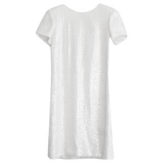 Chanel White Sequin Runway Shift Dress