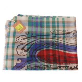 Etro Printed Wool Tartan Scarf
