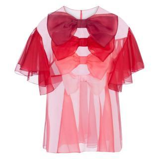 Dolce & Gabbana Red Organza Sheer Top