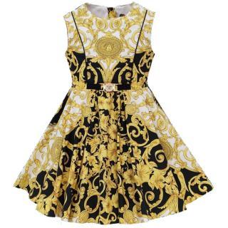 Young Versace Barocco Print A-Line Dress