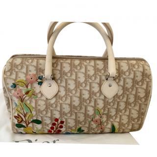 Dior Beige Oblique Floral Embroidered Boston Bag