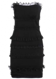 Boutique Moschino Black Frilled Strapless Dress