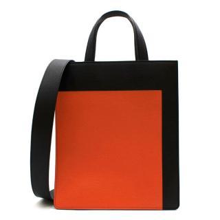 Valextra Black & Orange Leather Small Tote Bag