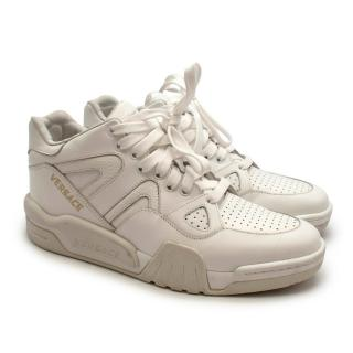 Versace White High Top Leather Sneakers