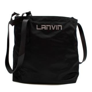 Lanvin Black Nylon & Leather Asymmetric Tote Bag