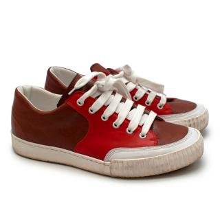 Marni Brown and Red Low Top Leather Sneakers