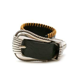 Toga Black Floral Embossed Leather Buckle Bracelet