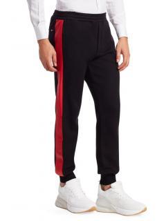 Alexander McQueen Black Cotton Red Stripe Joggers