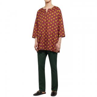 Gucci Men's Floral-Print Cotton-Muslin Tunic