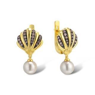 Salvatore Plata Crystal Shell Faux Pearl Drop Earrings
