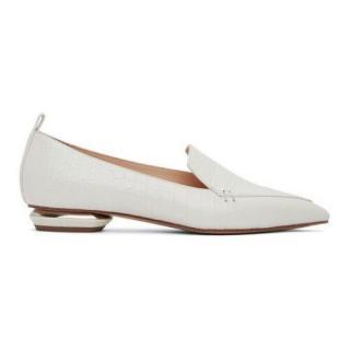 Nicholas Kirkwood Croc Embossed White Beya Loafers