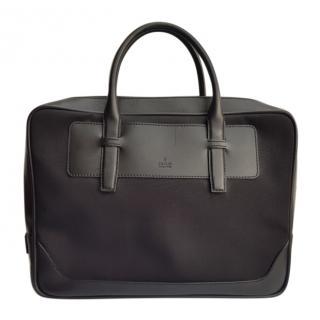 Gucci Black Leather Trimmed Canvas Travel Bag