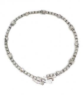 Bespoke 18ct White Gold Diamond Tennis Bracelet