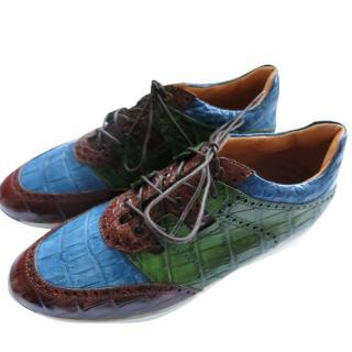 Silvano Lattanzi Handmade Crocodile Multicolour Sneakers
