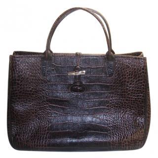 Lonchamp Croc Embossed Brown Roseau Tote Bag