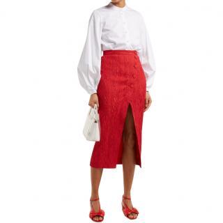 Alexa Chung Red Crepe Midi Skirt