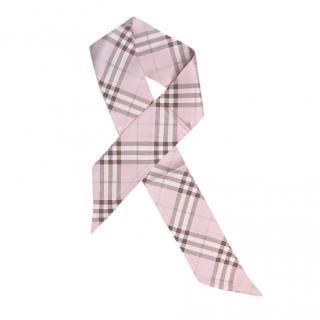 Burberry Pink Check Silk Skinny Scarf