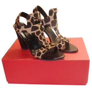 Roger Vivier Giraffe Print Horsehair Sandals