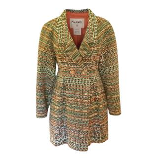 Chanel multicoloured tweed double breasted coat
