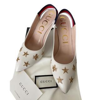 Gucci White Stars & Bee Web Slingback Sylvie Pumps